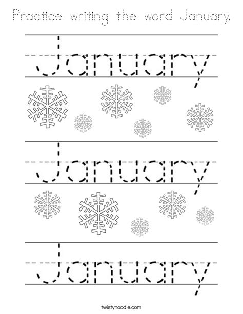 practice writing  word january coloring page tracing