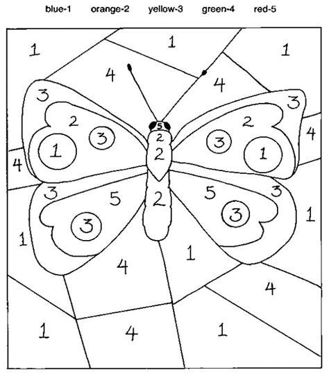 butterfly color by number number