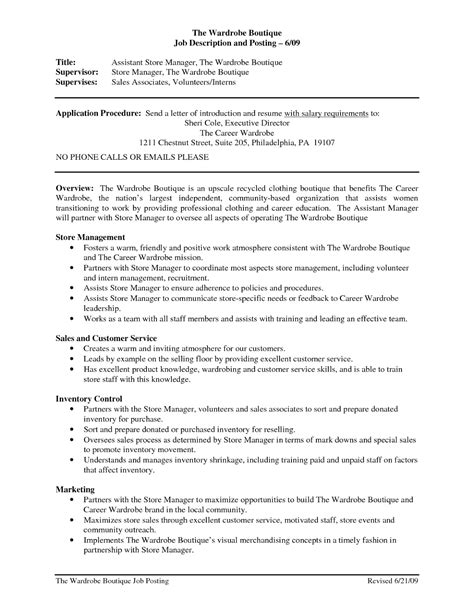 Store Manager Resume Skills by Retail Store Manager Description For Resume Student Resume Template