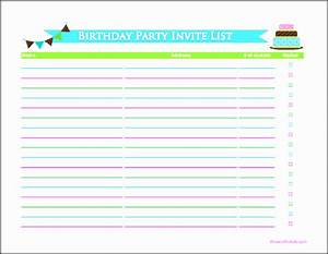 Party Planning Checklist Pdf 4 Birthday Party Guest List Template Sampletemplatess