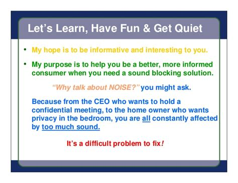 How To Make Being A Nanny Sound On A Resume by Sound Proof Drywall Presentation Turn Noise Into Heat Which You Can