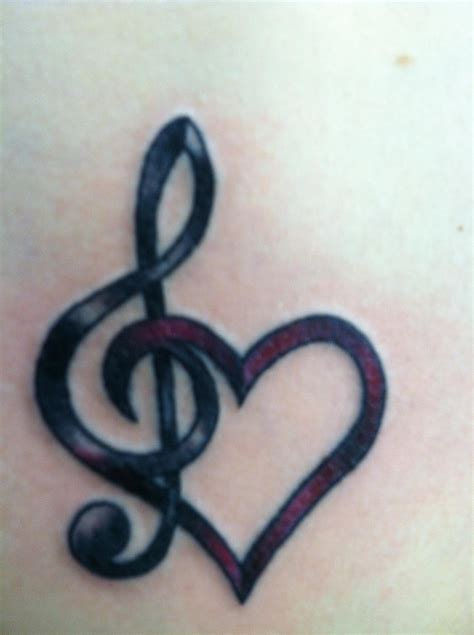 black  note  heart  ribbon tattoo design  emma