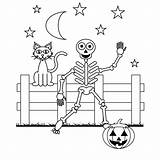 Coloring Pages Skeleton Halloween Printable sketch template