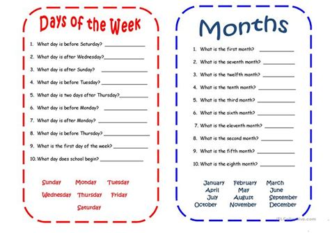 days and months worksheet free esl printable worksheets 832 | big 4799 days and months 1