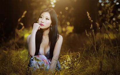 Asian Cleavage Portrait Spring Autumn Shoot Wallpapers
