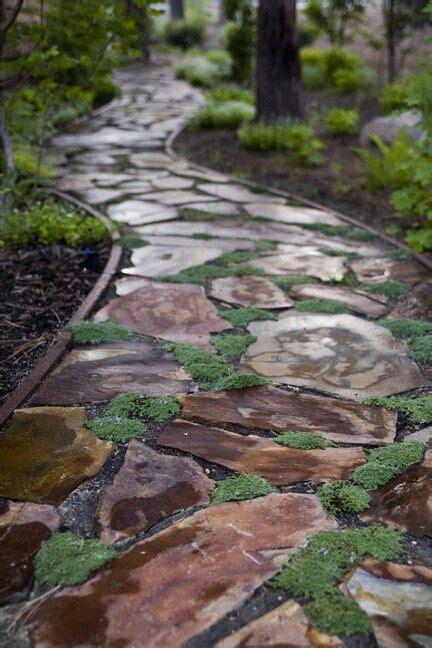 stone paths ideas  pinterest stone path pebble walkway pathways  stone pathways