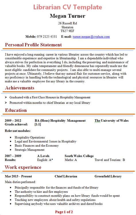 Curriculum Vitae Format For Librarian by Librarian Cv