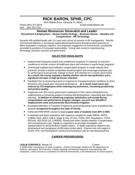 professional hr representative resume template