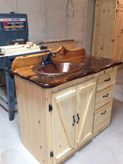Kitchen Vanity by Bathroom Vanity Pine Slab Countertop Log Cabin Ideas