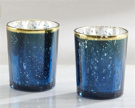 blue mercury glass bath accessories blue mercury glass tea light holder set of 4