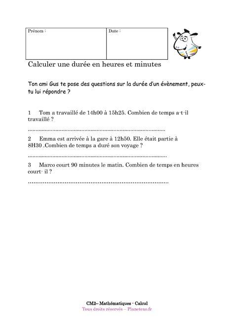 Exercice Corrigé Pour Le Cm2  Calculer Une Durée En