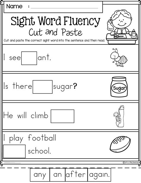sight word fluency cut and paste grade miss