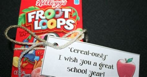 Back To School Cereal Box Treat. Free Tag Template