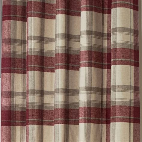 belvedere wool feel tartan check lined eyelet curtains