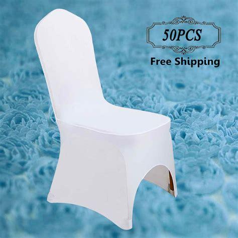 pas cher 50 pcs stretch lycra universel polyester spandex de mariage housses de chaise pour les