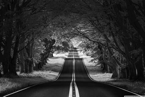 road landscape aesthetic black  white ultra hd