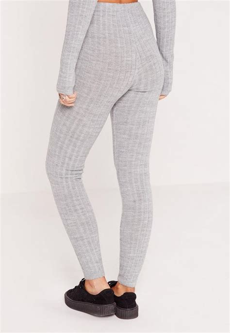 Knitted Leggings Grey   Missguided