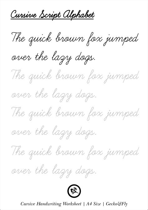 5 printable cursive handwriting worksheets for