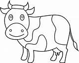 Cow Coloring Clip Printable Clipart Line Coloring4free Animal Andw Sweetclipart sketch template