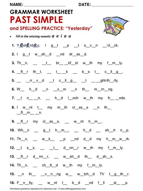 English Grammar Past Simple And Spelling Practice Httpwwwallthingsgrammarcompastsimple
