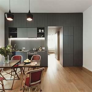 Photo petite cuisine ces 19 petites cuisines qui ont du for Petite cuisine équipée avec meuble buffet salle à manger