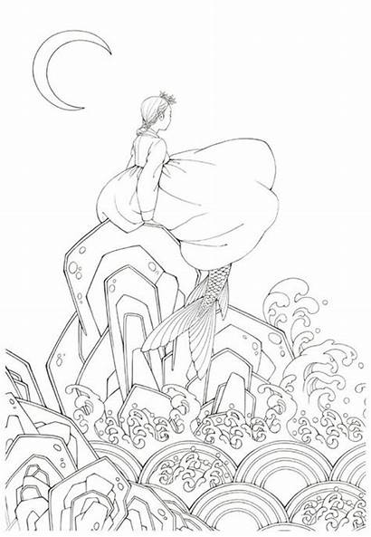 Coloring Korean Fairy Tale Hanbok Illustrations Pages
