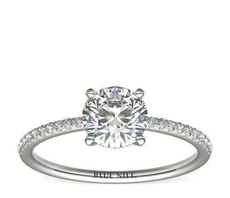 micropav 233 engagement ring in 14k white gold 1 10 ct tw blue nile
