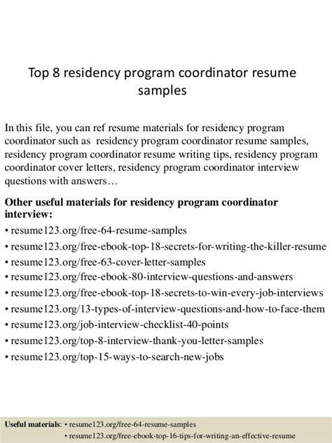 Residence Coordinator Resume top 8 residency program coordinator resume sles