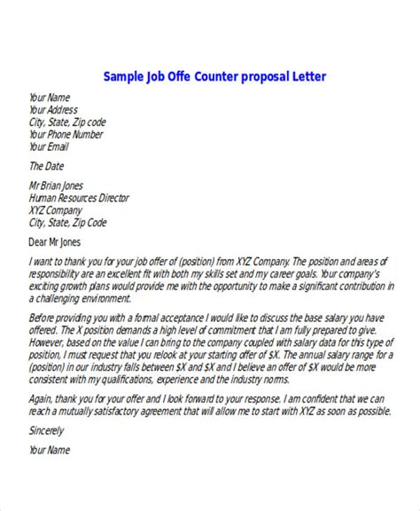 counter offer letter exles 6 sle offer letters sle templates 20984