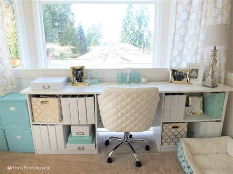 Tiffany Blue Home Office Makeover, Gold Accents, Pretty