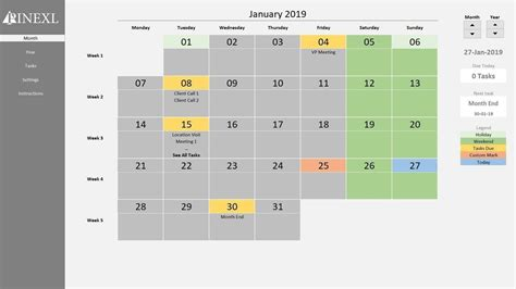 excel perpetual calendar task manager template youtube