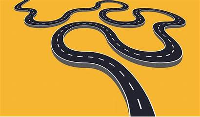 Winding Road Vector Isolated Horizontal Journey Illustration