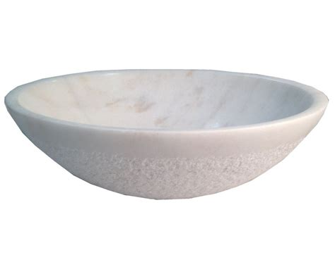 Stone Vessel Sink White Marble Bathroom Top Mount Round