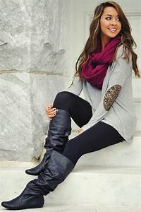 Fall Outfit With Elbow Patch Blouse and Long Boots on Inspirationde