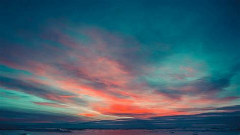 antarctic nature beautiful colorful sunset cloudy sky