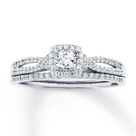 trio wedding ring sets jared jared bridal set 1 2 ct tw princess cut 14k white gold
