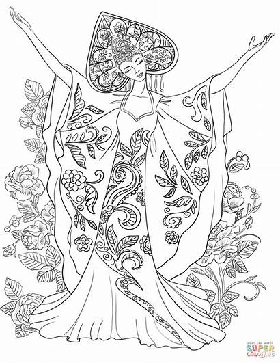 Coloring Russian Traditional Woman Costume Pages Russia
