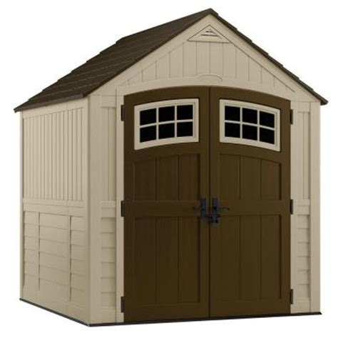 4x8 Plastic Storage Shed by Suncast Sutton 7 Ft 3 In X 7 Ft 4 5 In Resin Storage