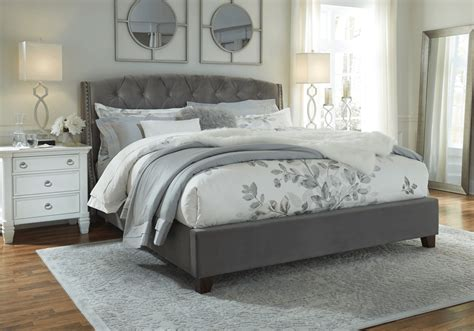 kasidon gray king upholstered bed louisville overstock