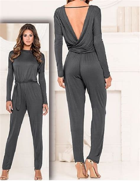 grey jumpsuit womens womens casual gray wrap jumpsuit romper venus