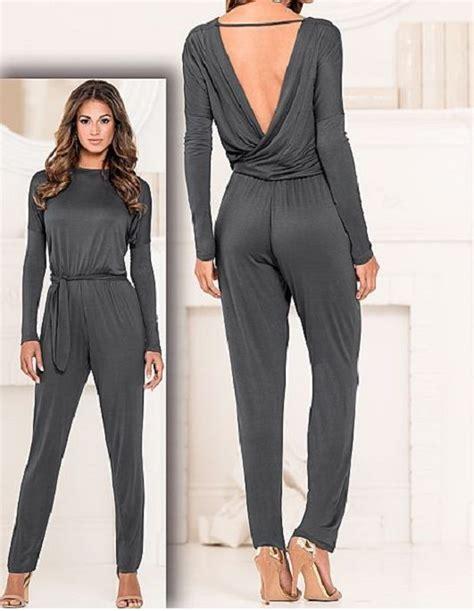 womens jumpsuit womens casual gray wrap jumpsuit romper venus