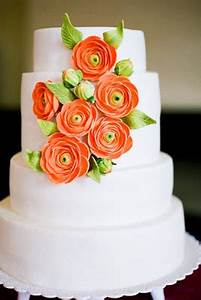 Wedding Cakes Bright Orange Flowers