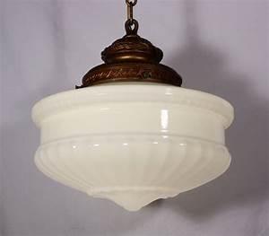 Large antique pendant light fixture with original milk