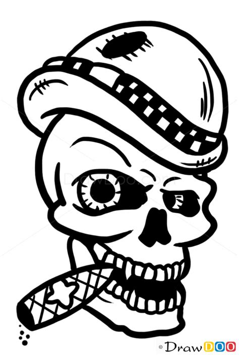How to Draw Irish Skull, Tattoo Skulls