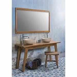 Meuble Salle De Bain 150 Cm : ensemble de salle de bain en teck meuble de salle de bain teck 150 cm 2 vasques marbre creme ~ Teatrodelosmanantiales.com Idées de Décoration