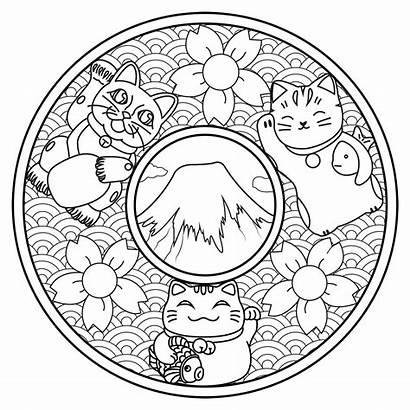 Mandala Coloring Pages Adult Neko Maneki Flower