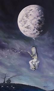 Good Night Moon ~ #art #painting #stars #girl #moon #night ...