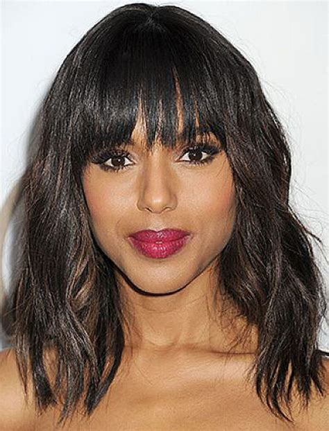 hairstyles with bangs for african americans length wavy