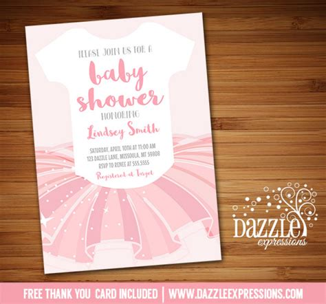 tutu baby shower invitations templates printable ballerina tutu onesie baby sower invitation ballet baby free thank you card