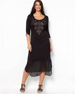 Robe longue grande taille hiver voile noir manche 3 4 for Robe longue taille 46